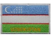 UZBEKISTAN FLAG (B) WITHTEXT EMBROIDERED PATCH