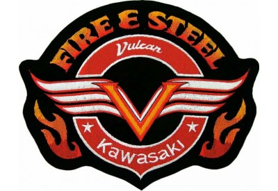 GIANT FIRE & STEEL KAWASAKI BIKE EMBROIDERED PATCH (P3)