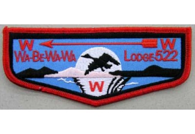 BSA OA FLAP LODGE 522 WA-BE-WA-WA EMBROIDERED PATCH