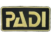 PADI SCUBA LOGO FLAP EMBROIDERED PATCH BLACK