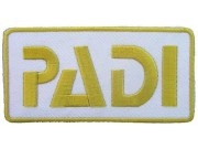 PADI SCUBA LOGO FLAP EMBROIDERED PATCH WHITE