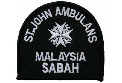 ST.JOHN MALAYSIA SABAH BLK AMBULANCE EMBROIDERED PATCH