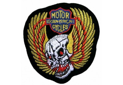 SKULL BIKER IRON ON EMBROIDERED PATCH #01