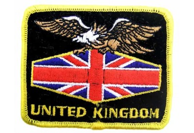 UK EAGLE FLAG BIKER RAIDER EMBROIDERED PATCH #05