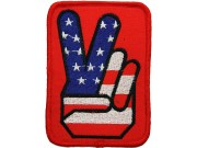 VICTORY HAND SIGN US FLAG EMBROIDERED PATCH #01