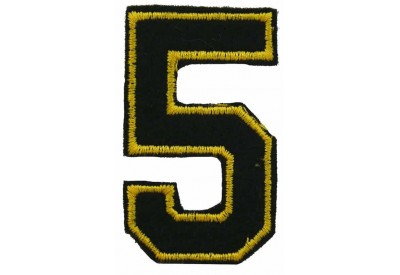 NUMBER 5 (FIVE) IRON ON EMBROIDERED PATCH