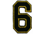 NUMBER 6 (SIX) IRON ON EMBROIDERED PATCH