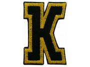 ALPHABET (K) IRON ON EMBROIDERED PATCH