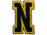 ALPHABET (N) IRON ON EMBROIDERED PATCH