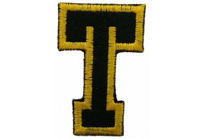 ALPHABET (T) IRON ON EMBROIDERED PATCH