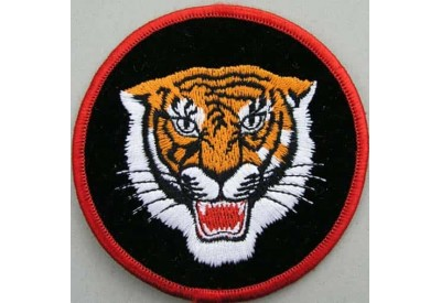 TIGER BIKER BIKER IRON ON EMBROIDERED PATCH #02