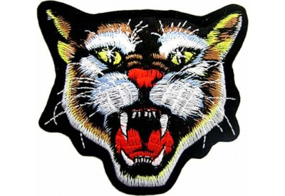 WILD CAT BIKER IRON ON EMBROIDERED PATCH #01