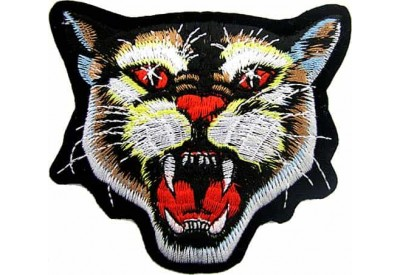 WILD CAT BIKER IRON ON EMBROIDERED PATCH #02