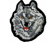 WOLF BIKER IRON ON EMBROIDERED PATCH #01