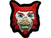 WOLF BIKER IRON ON EMBROIDERED PATCH #07