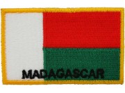 "MADAGASCAR EMBROIDERED FLAG PATCH ""With Text"""