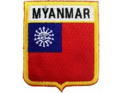 MYANMAR SHIELD FLAG EMBROIDERED PATCH