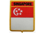SINGAPORE SHIELD FLAG EMBROIDERED PATCH