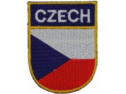 CZECH REPUBLIC SHIELD FLAG EMBROIDERED PATCH