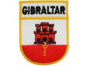 GIBRALTAR SHIELD FLAG IRON EMBROIDERED PATCH PT07