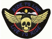 RIDE TO LIVE, LIVE TO RIDE BIKER SKULL PATCH #01