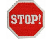 STOP SIGN LOGO IRON ON EMBROIDERED PATCH #01
