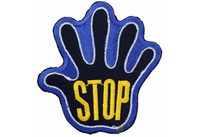 PALM HAND SHAPED STOP SIGN SKATE BOARD PATCH #01