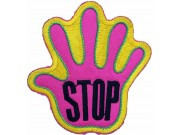 PALM HAND SHAPED STOP SIGN SKATE BOARD PATCH #02