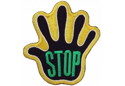PALM HAND SHAPED STOP SIGN SKATE BOARD PATCH #03