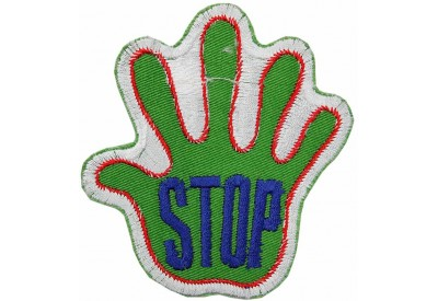 PALM HAND SHAPED STOP SIGN SKATE BOARD PATCH #04