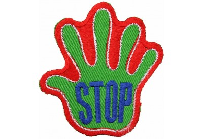 PALM HAND SHAPED STOP SIGN SKATE BOARD PATCH #06