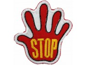 PALM HAND SHAPED STOP SIGN SKATE BOARD PATCH #07