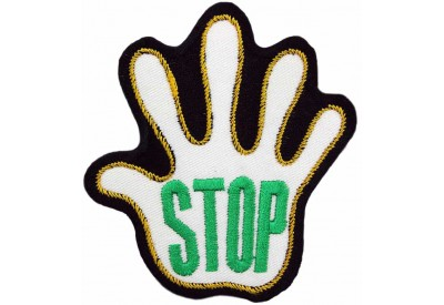 PALM HAND SHAPED STOP SIGN SKATE BOARD PATCH #09