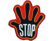 PALM HAND SHAPED STOP SIGN SKATE BOARD PATCH #10