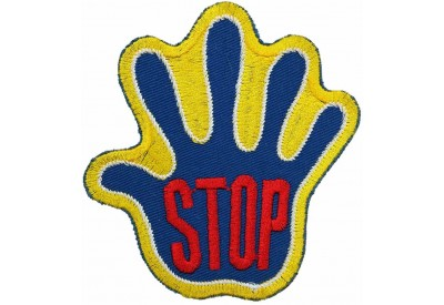 PALM HAND SHAPED STOP SIGN SKATE BOARD PATCH #11