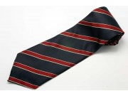 STRIPES TIE BLK & RED WOVEN NOVELTY NECKTIE #09