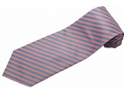 STRIPES TIE LT.PINK BLUE WOVEN NOVELTY NECKTIE #19