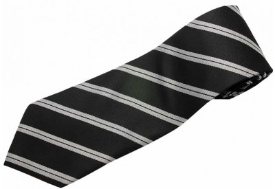 STRIPES TIE BLACK & GRAY WOVEN NOVELTY NECKTIE #29