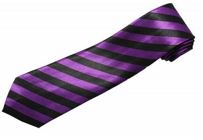 STRIPES TIE PURPLE/BLACK NOVELTY NECKTIE #97
