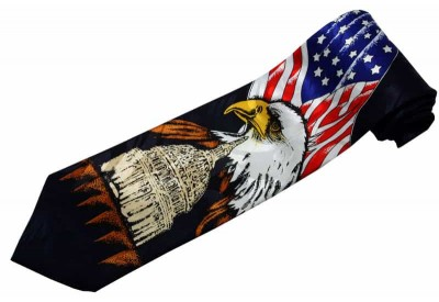 USA FLAG AND EAGLE TIE NOVELTY NECKTIE #06